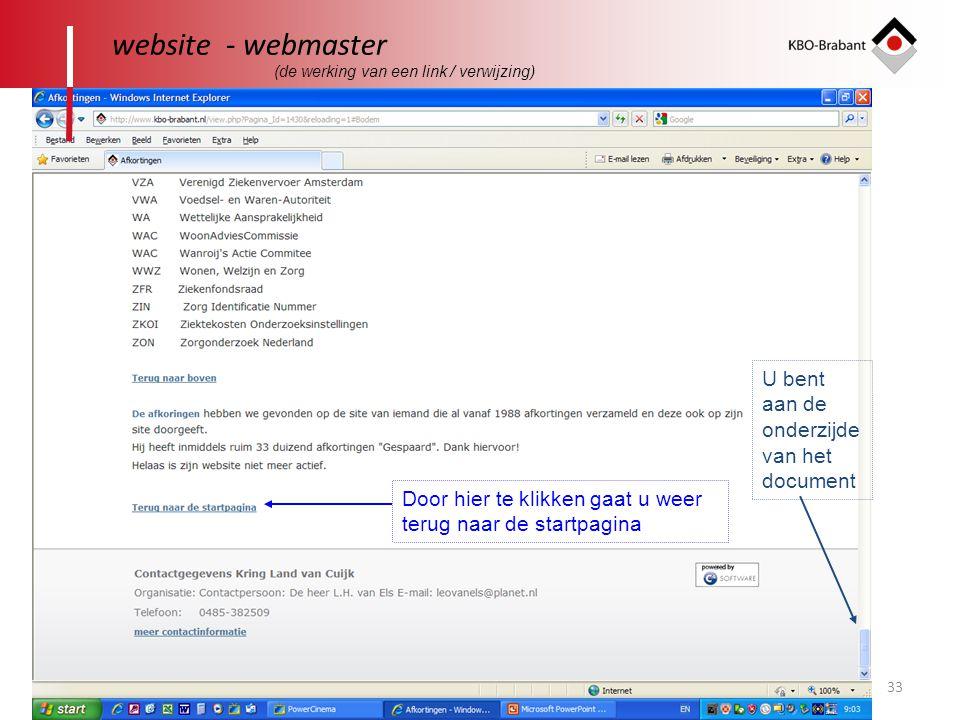 website - webmaster U bent aan de onderzijdevan het document
