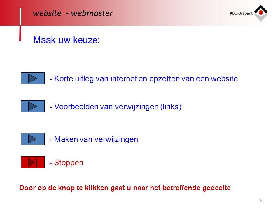 website - webmaster Maak uw keuze: