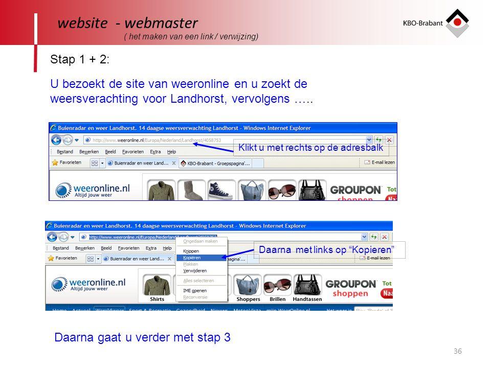website - webmaster Stap 1 + 2: