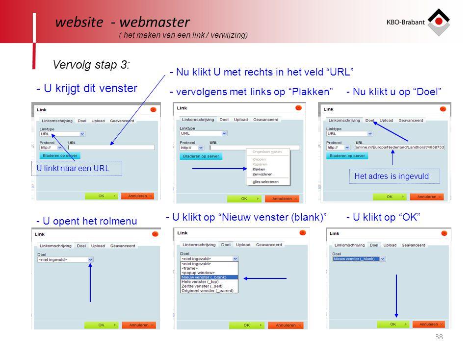 website - webmaster Vervolg stap 3: - U krijgt dit venster
