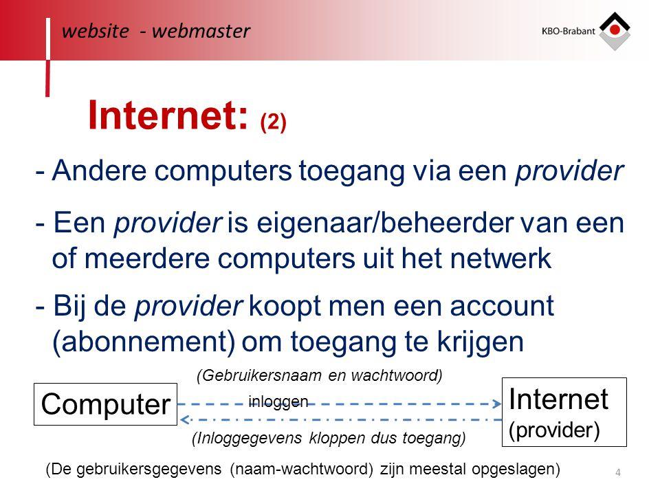 Internet: (2) - Andere computers toegang via een provider