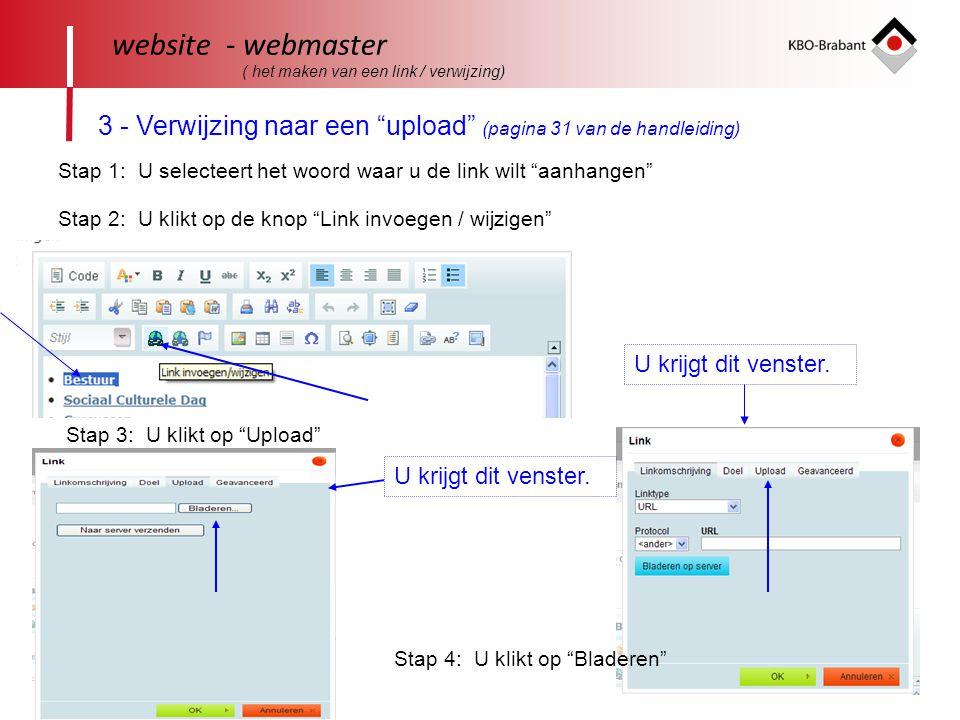 website - webmaster ( het maken van een link / verwijzing) 3 - Verwijzing naar een upload (pagina 31 van de handleiding)
