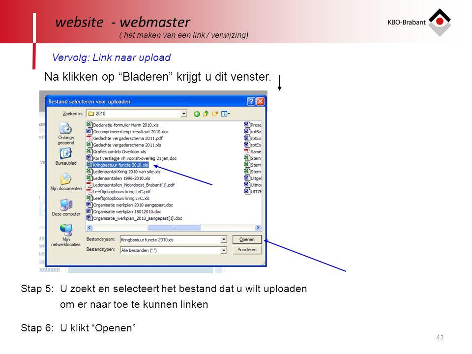website - webmaster Vervolg: Link naar upload