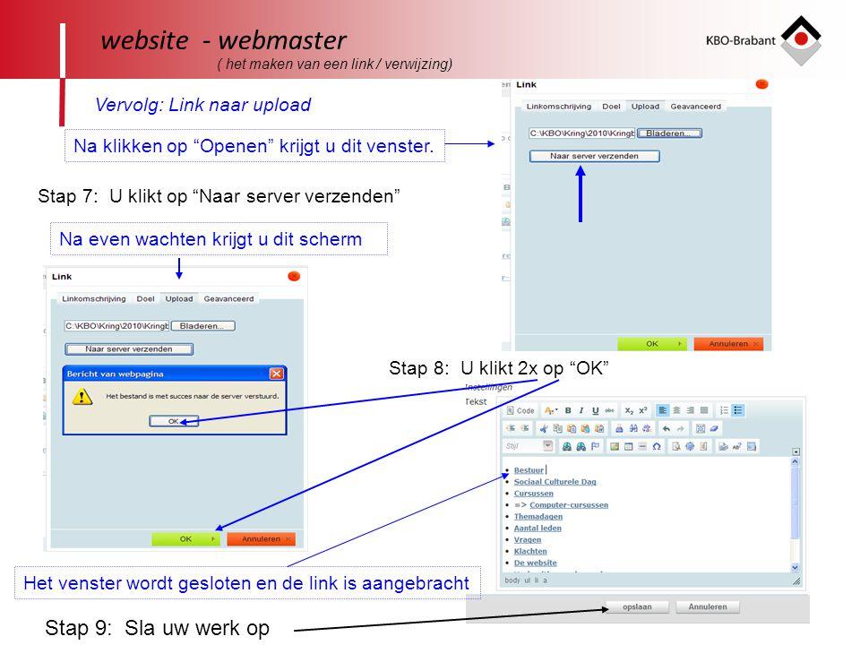 website - webmaster Vervolg: Link naar upload Stap 9: Sla uw werk op