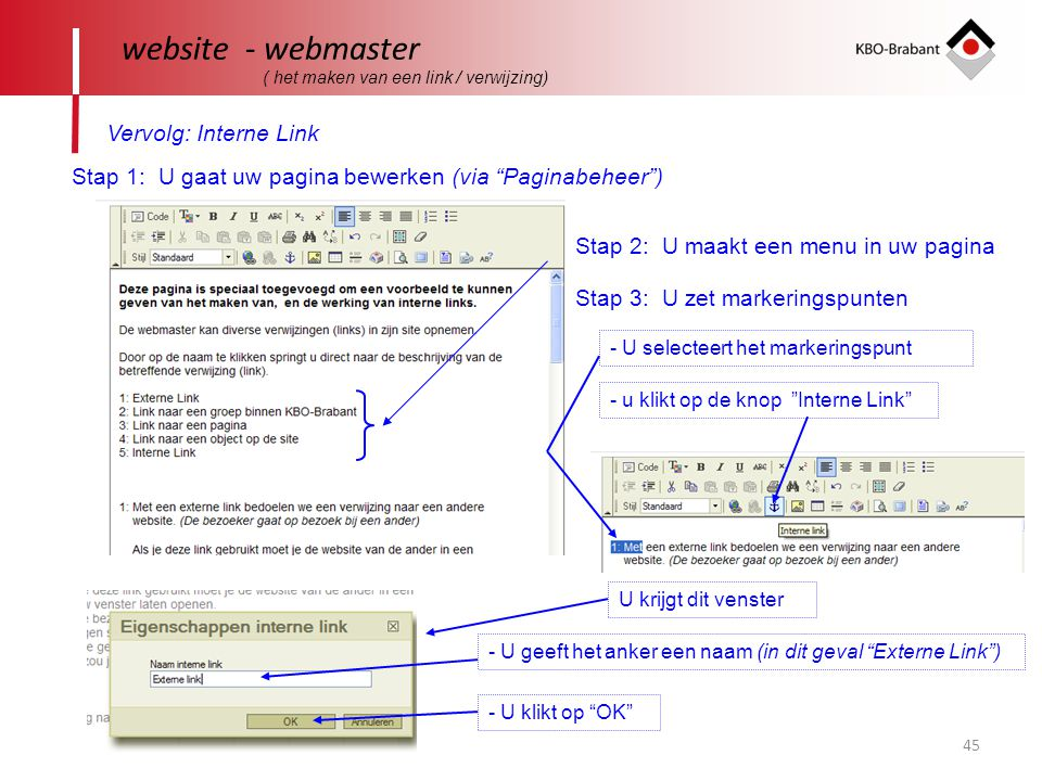 website - webmaster Vervolg: Interne Link