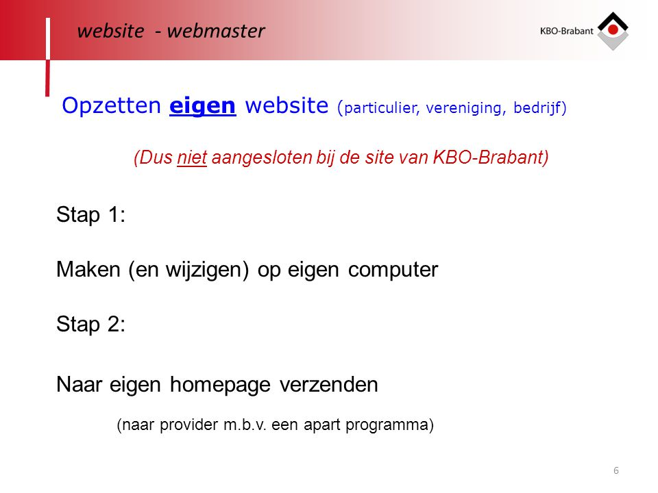 Opzetten eigen website (particulier, vereniging, bedrijf)