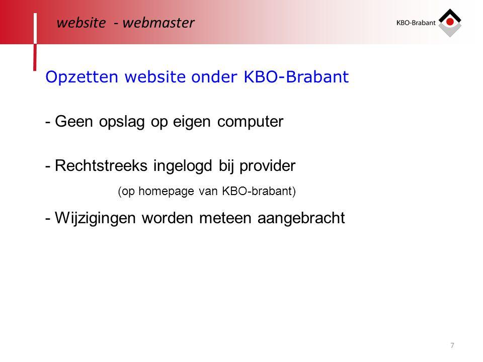 Opzetten website onder KBO-Brabant