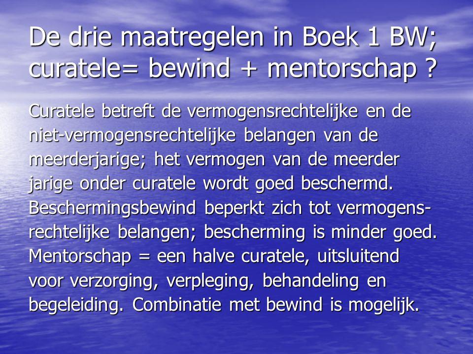 De drie maatregelen in Boek 1 BW; curatele= bewind + mentorschap