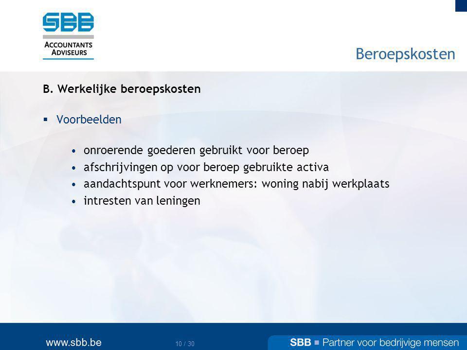 Beroepskosten B. Werkelijke beroepskosten Voorbeelden