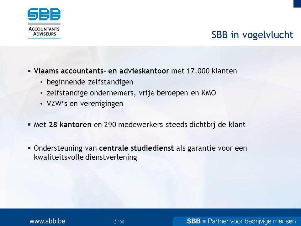 SBB in vogelvlucht Vlaams accountants- en advieskantoor met 17.000 klanten. beginnende zelfstandigen.