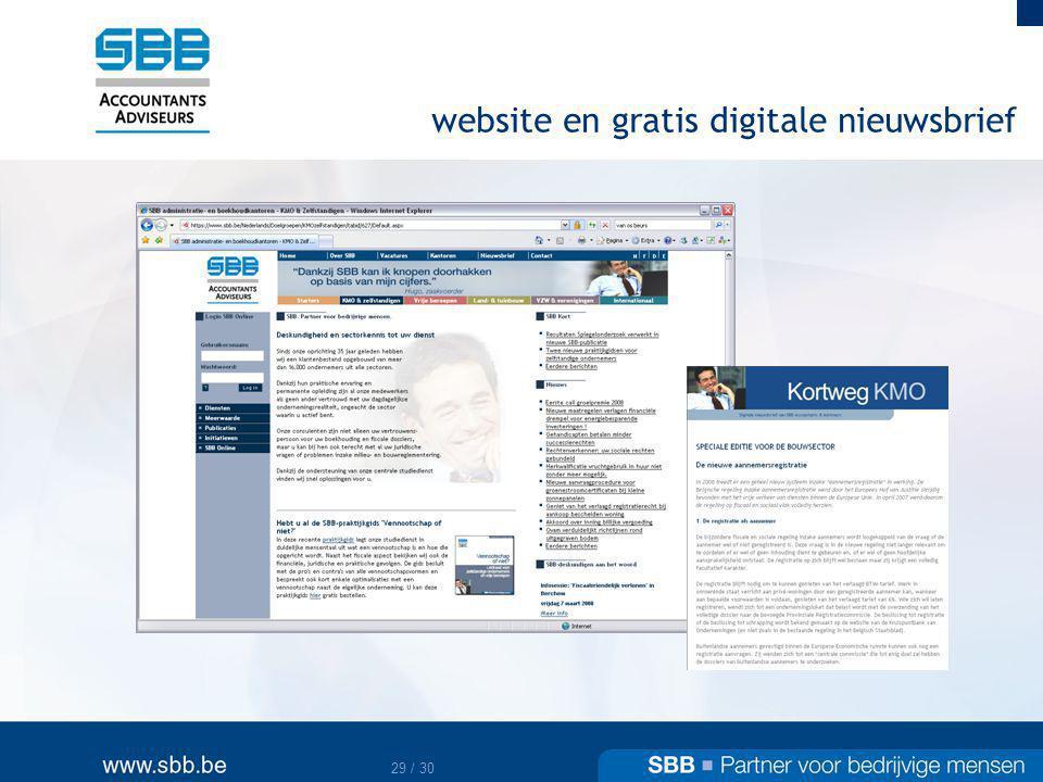 website en gratis digitale nieuwsbrief
