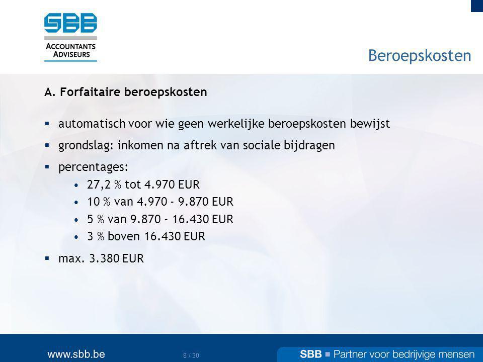 Beroepskosten A. Forfaitaire beroepskosten