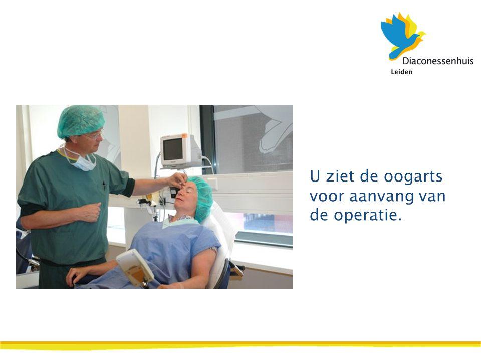 U ziet de oogarts voor aanvang van de operatie.