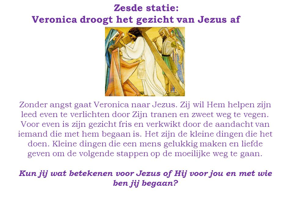 Veronica droogt het gezicht van Jezus af