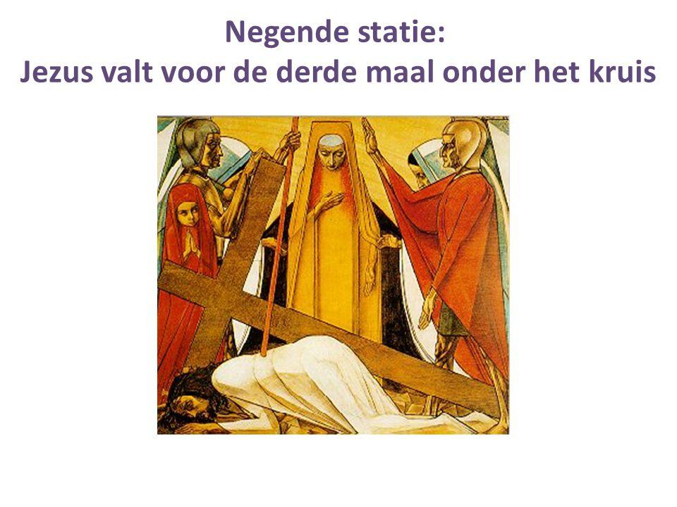 Jezus valt voor de derde maal onder het kruis