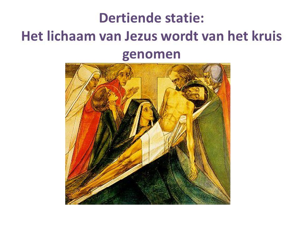 Het lichaam van Jezus wordt van het kruis genomen