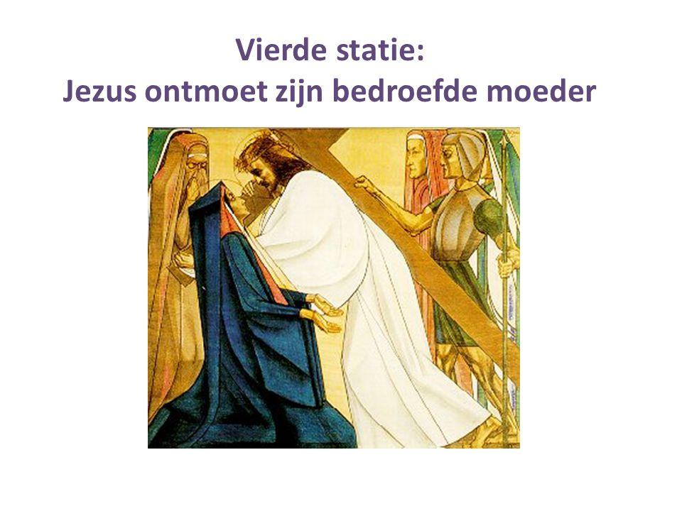 Jezus ontmoet zijn bedroefde moeder