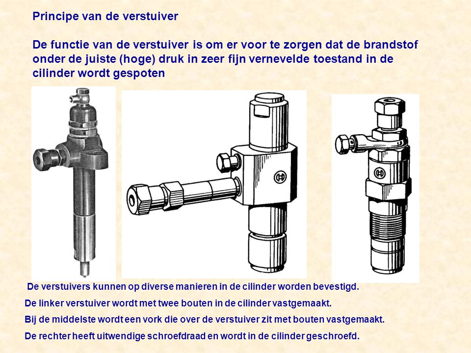 Principe van de verstuiver De functie van de verstuiver is om er voor te zorgen dat de brandstof onder de juiste (hoge) druk in zeer fijn vernevelde toestand in de cilinder wordt gespoten