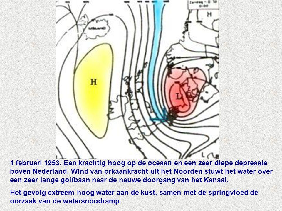 1 februari 1953. Een krachtig hoog op de oceaan en een zeer diepe depressie boven Nederland. Wind van orkaankracht uit het Noorden stuwt het water over een zeer lange golfbaan naar de nauwe doorgang van het Kanaal.