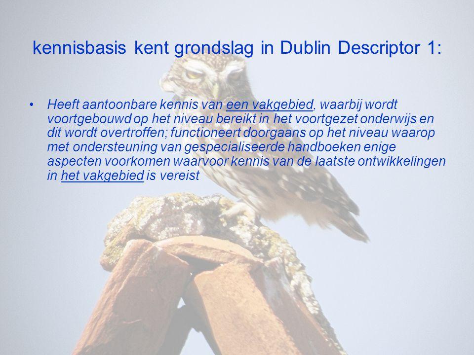 kennisbasis kent grondslag in Dublin Descriptor 1:
