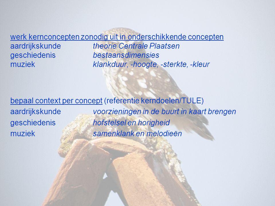werk kernconcepten zonodig uit in onderschikkende concepten aardrijkskunde theorie Centrale Plaatsen geschiedenis bestaansdimensies muziek klankduur, -hoogte, -sterkte, -kleur