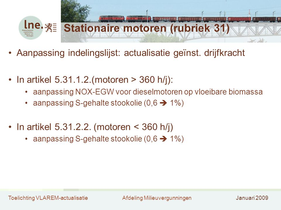 Stationaire motoren (rubriek 31)