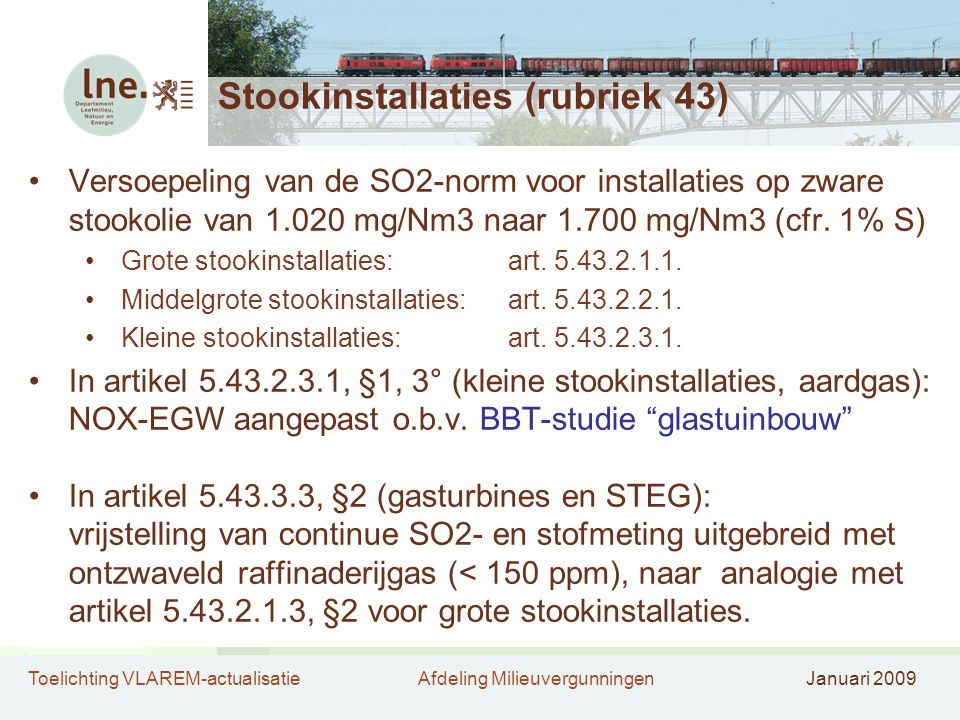 Stookinstallaties (rubriek 43)