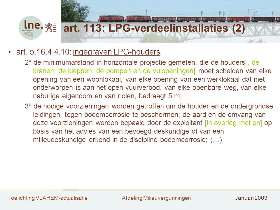 art. 113: LPG-verdeelinstallaties (2)