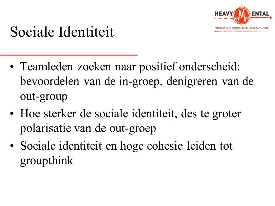Sociale Identiteit Teamleden zoeken naar positief onderscheid: bevoordelen van de in-groep, denigreren van de out-group.
