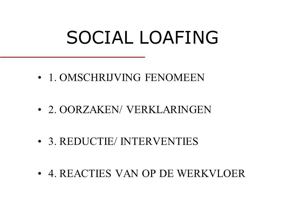SOCIAL LOAFING 1. OMSCHRIJVING FENOMEEN 2. OORZAKEN/ VERKLARINGEN