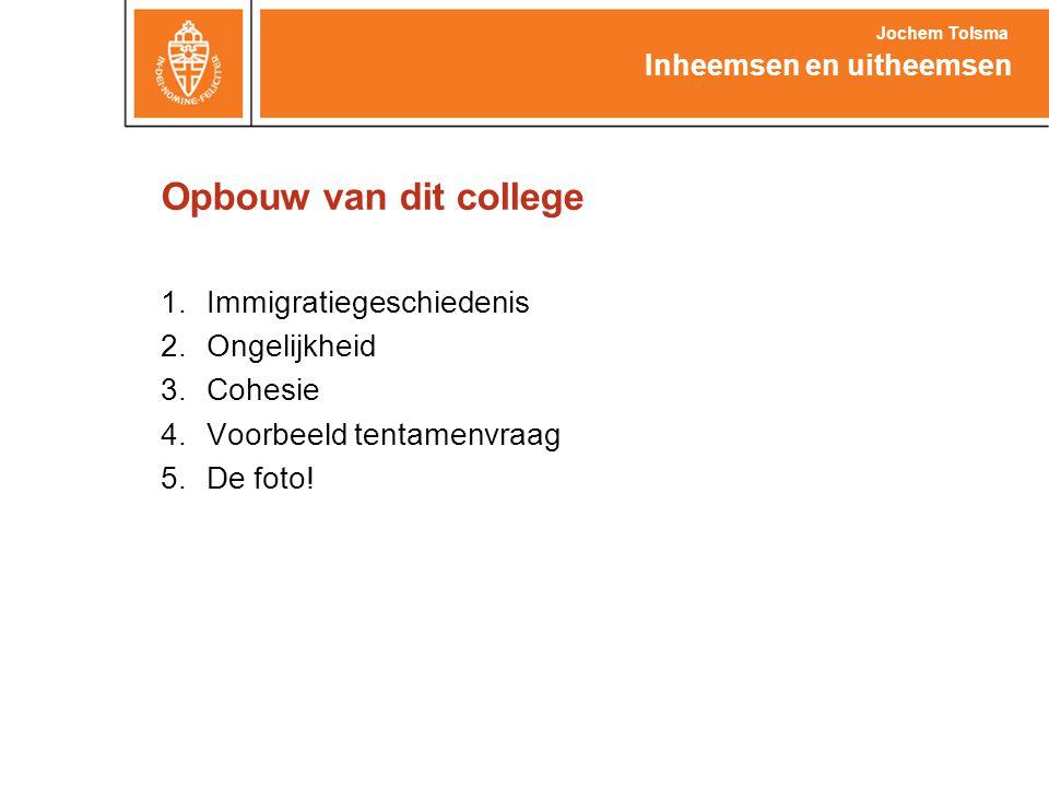 Opbouw van dit college Immigratiegeschiedenis Ongelijkheid Cohesie