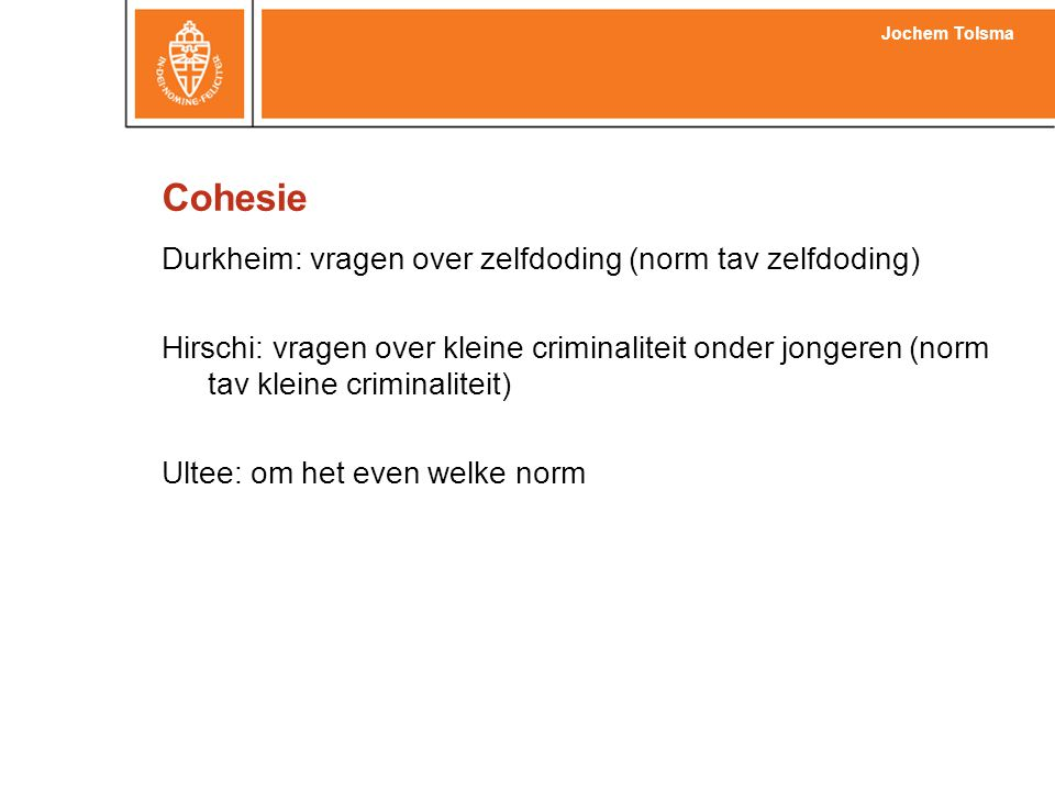 Cohesie Durkheim: vragen over zelfdoding (norm tav zelfdoding)