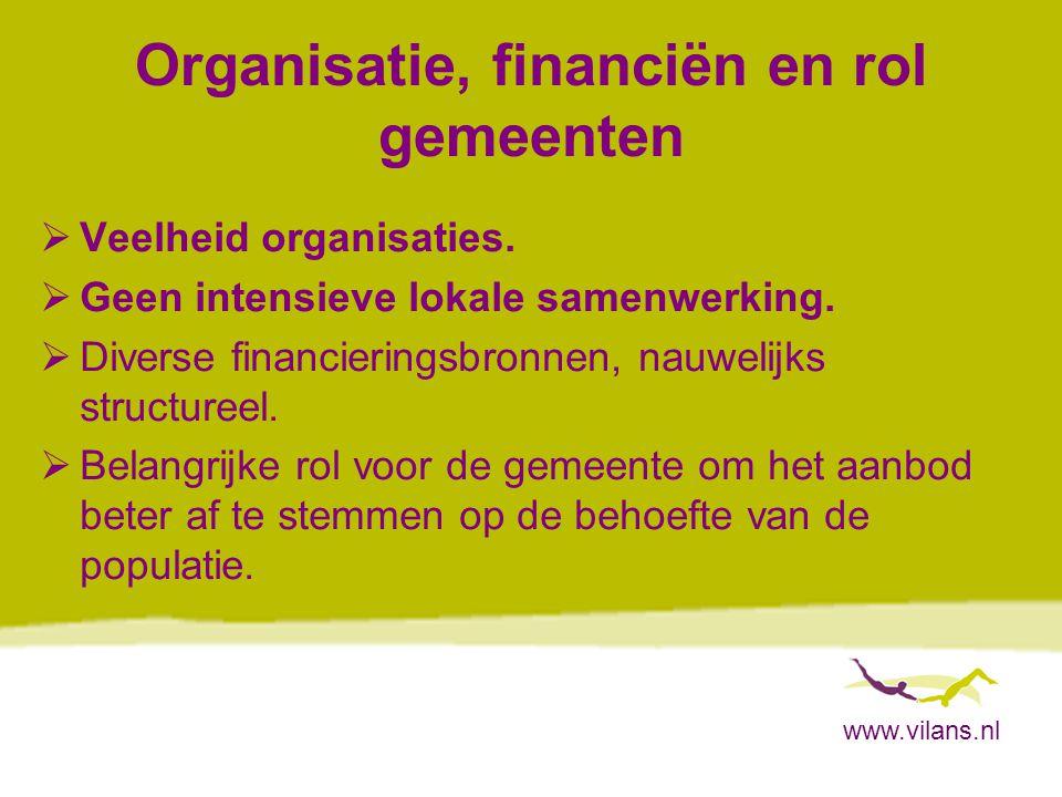 Organisatie, financiën en rol gemeenten