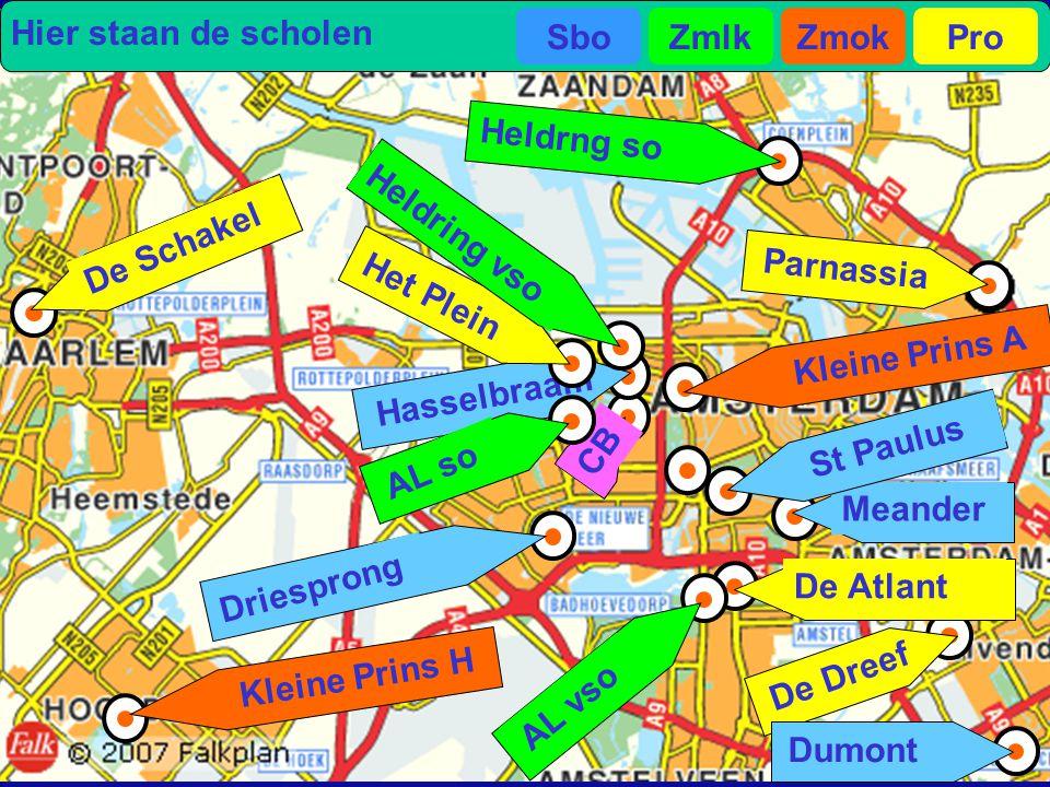 Hier staan de scholen Sbo. Zmlk. Zmok. Pro. Heldrng so. Heldring vso. De Schakel. Parnassia.