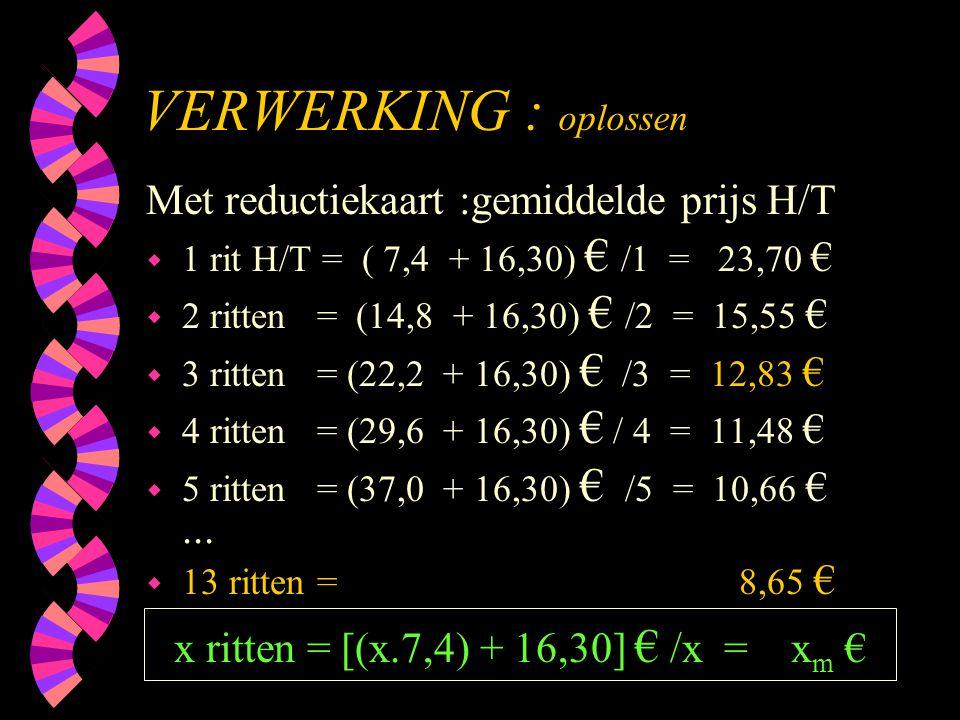 VERWERKING : oplossen Met reductiekaart :gemiddelde prijs H/T
