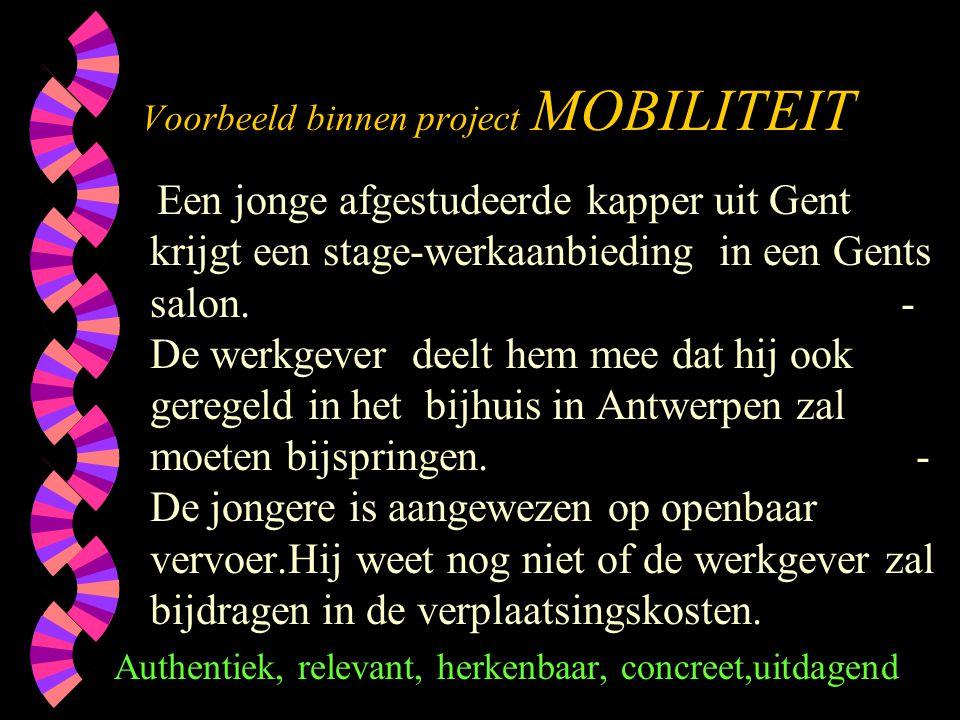 Voorbeeld binnen project MOBILITEIT