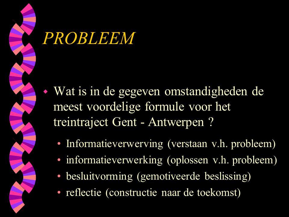 PROBLEEM Wat is in de gegeven omstandigheden de meest voordelige formule voor het treintraject Gent - Antwerpen