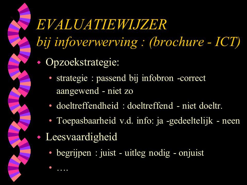 EVALUATIEWIJZER bij infoverwerving : (brochure - ICT)