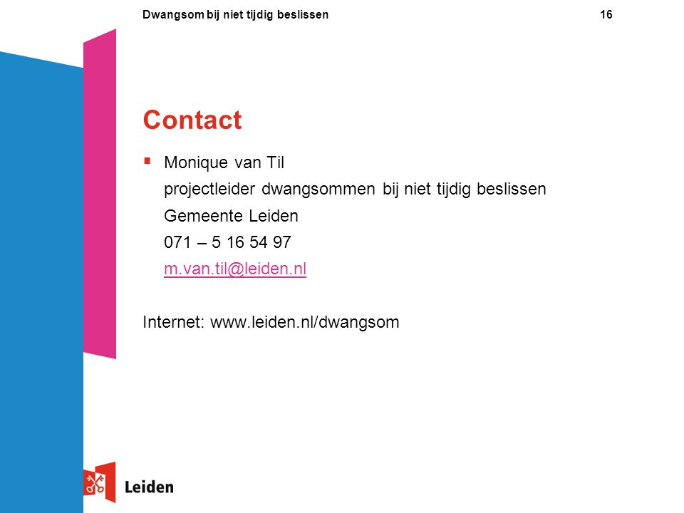 Contact Monique van Til