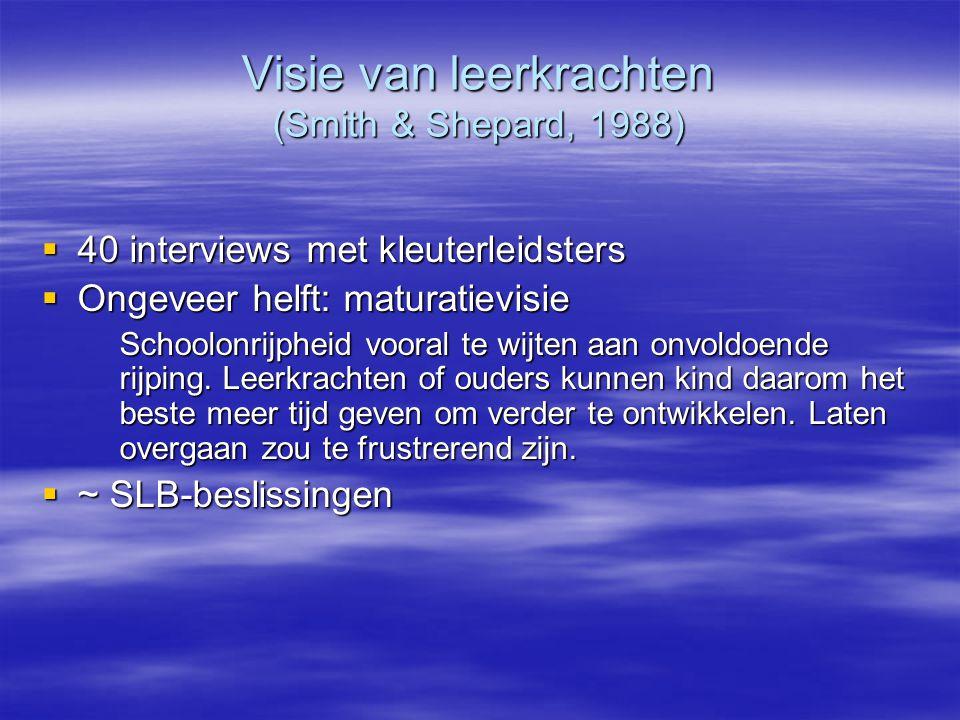 Visie van leerkrachten (Smith & Shepard, 1988)