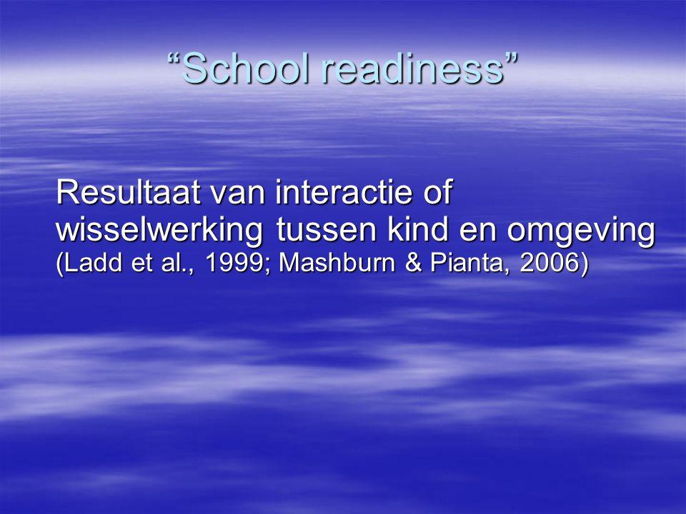 School readiness Resultaat van interactie of wisselwerking tussen kind en omgeving (Ladd et al., 1999; Mashburn & Pianta, 2006)