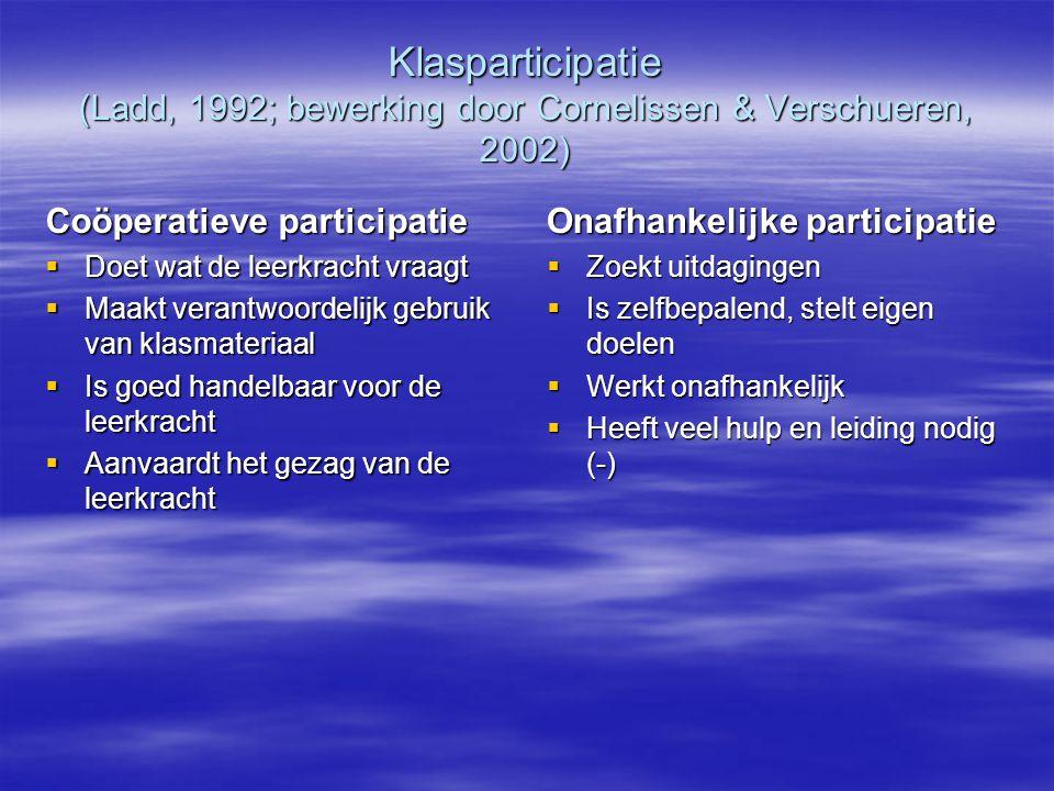 Klasparticipatie (Ladd, 1992; bewerking door Cornelissen & Verschueren, 2002)