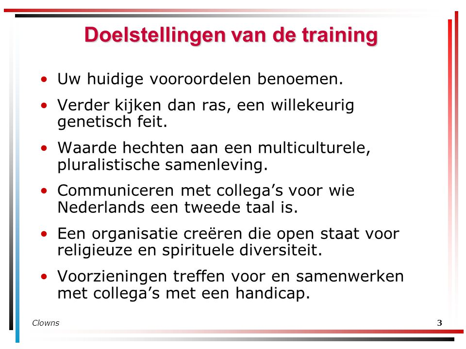 Doelstellingen van de training