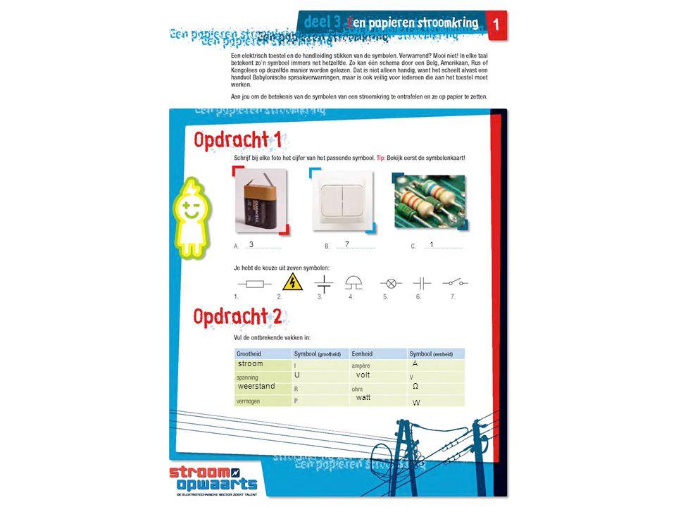 3 7 1 stroom A U volt weerstand Ω watt W