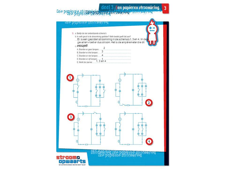 Er is een gesloten stroomkring in de schema's 1, 3 en 4