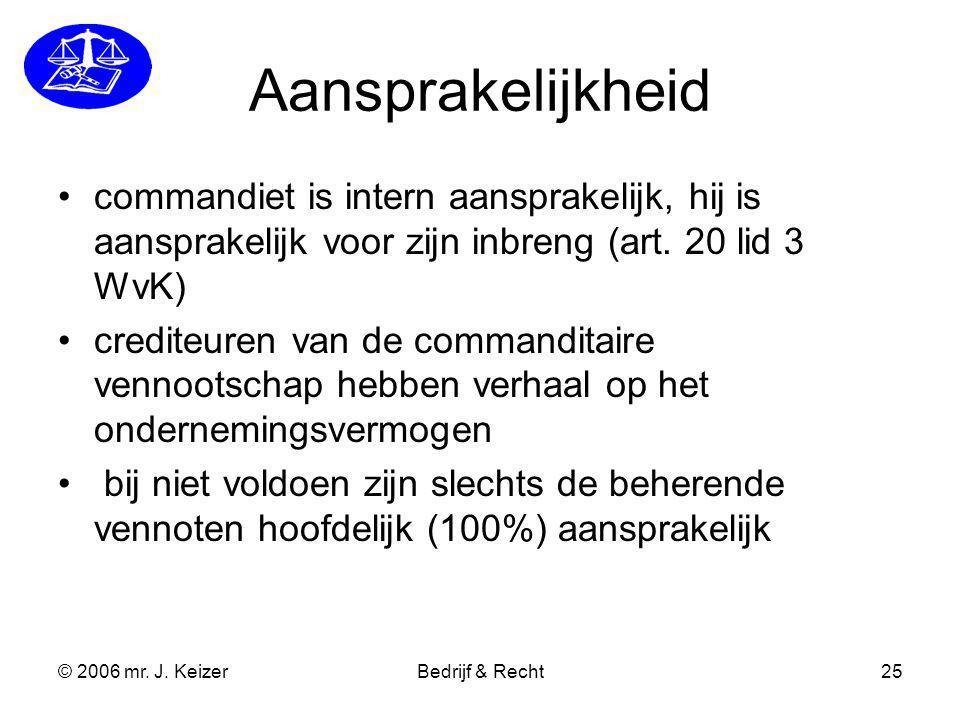 Aansprakelijkheid commandiet is intern aansprakelijk, hij is aansprakelijk voor zijn inbreng (art. 20 lid 3 WvK)