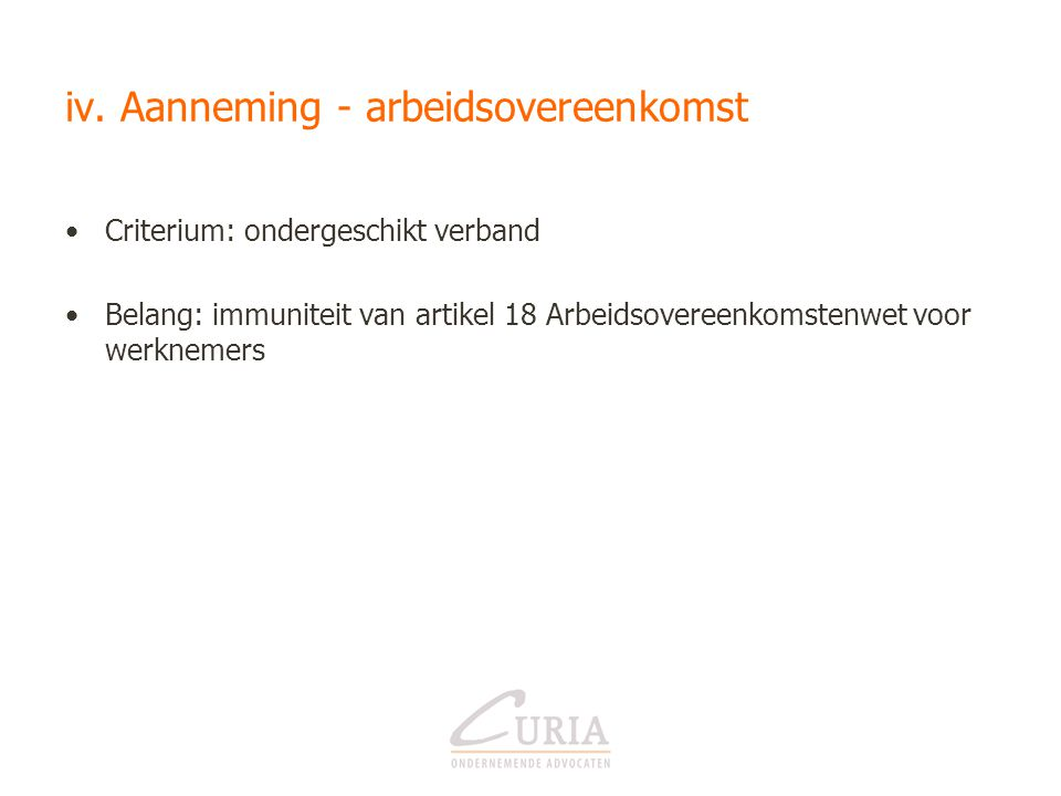 iv. Aanneming - arbeidsovereenkomst