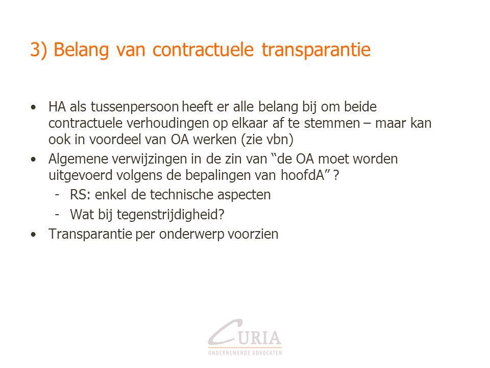 3) Belang van contractuele transparantie