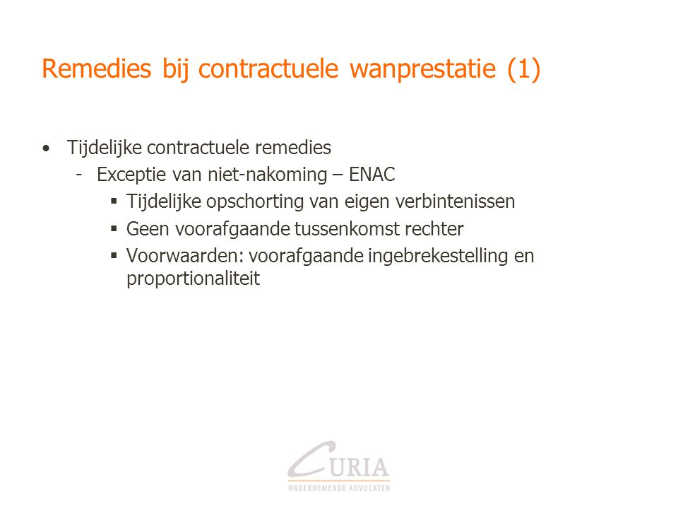 Remedies bij contractuele wanprestatie (1)