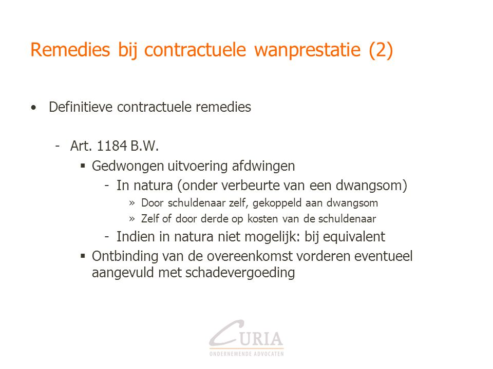 Remedies bij contractuele wanprestatie (2)
